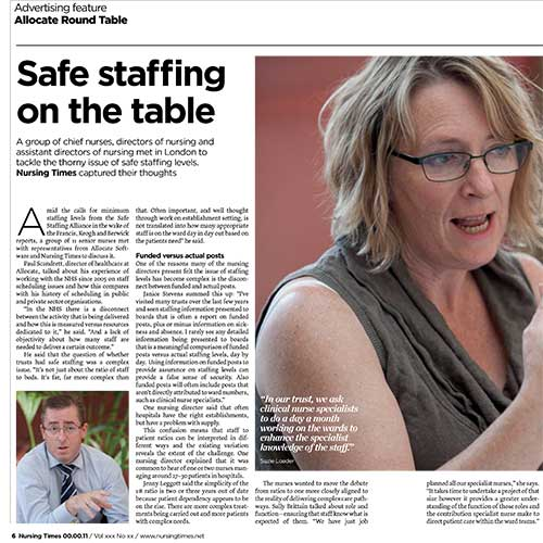 Safe staffing on the table